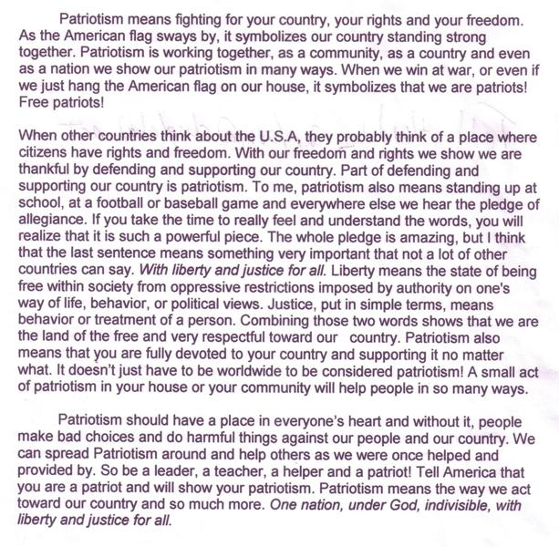 what patriotism means to you essay What patriotism means to me patriotism, the word itself makes me think of people full of loyalty and pride hey so you need an essay done.